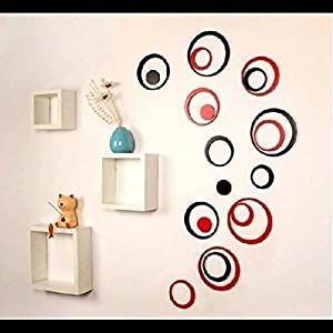 Wall Decor - 5 Sets DIY Circles Ring Stereo Wall Stickers Mural Indoor 3D Wall Art Decoration Black from Mark8shop