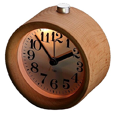 Glomarts Creative Small Round Classic Wood Silent Desk Travel Alarm Clock With Nightlight