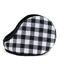 Metro Fleece Multi Color Checker Plaid Pattern Ear Warmers (Black)