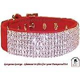 """Designer Red Velvet Diamante Dog Collar size 16""""-20"""""""
