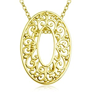 """18k Gold Plated Sterling Silver Filigree Open Oval Pendant Necklace , 18"""""""