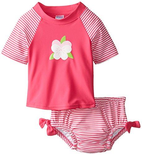 i play. Baby Girls' Two piece Rashguard & Reusable Absorbent Swim Diaper Set upf50 rashguard bodyboard al004