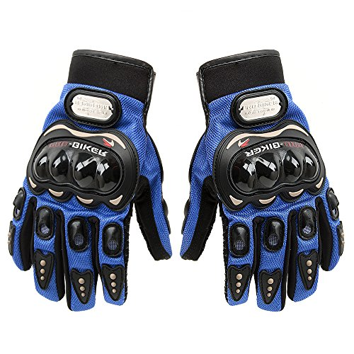 Carbon Fiber Motorcycle Motorbike Cycling Racing Full Finger Gloves Tonsiki (Blue, L) (Chopper Gloves Children compare prices)