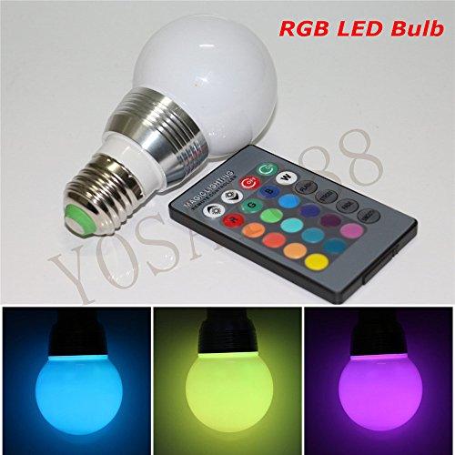 yosa-eu RGB LED Birne E275W LED RGB Leuchtmittel AC 85-265V Lampe 16Farben Farbwechsel LED RGB Lampe + IR-Fernbedienung Controller