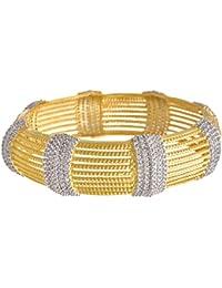 JFL- Traditional Ethnic Fusion One Gram Gold Plated Cz American Diamond Designer Kada Bangle For Women & Girls.
