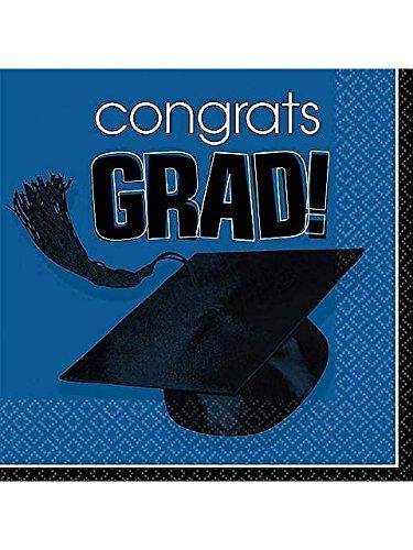 Amscan 202463 Congrats Grad Blue Graduation Beverage Napkins