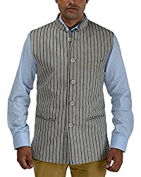 Panache Linen Men's Nehru Jacket (Grey,38)