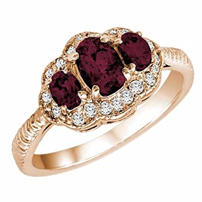 Ryan Jonathan Vintage Style Ruby and Diamond Ring in 14K White Gold