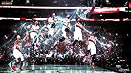 Cartoon world Damian Lillard Bounce Dunking In A Game Versus The Raptors Basketball Poster wall pictures for bedroom pop art F0327 24\