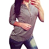 Lowpricenice Women Houndstooth Pattern Shirt Zipper Casual Slim Tops Blouse (L)