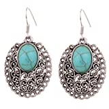 Yazilind Ethnic Tibetan Silver Oval Rimous Turquoise Drop Dangle Earrings