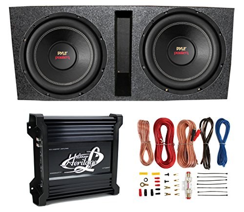 Pyle 15-Inch PLPW15D Subwoofers + Vented Box + 2 Channel Amp & Wiring Kit (2000 Watt Amp Wiring Kit compare prices)