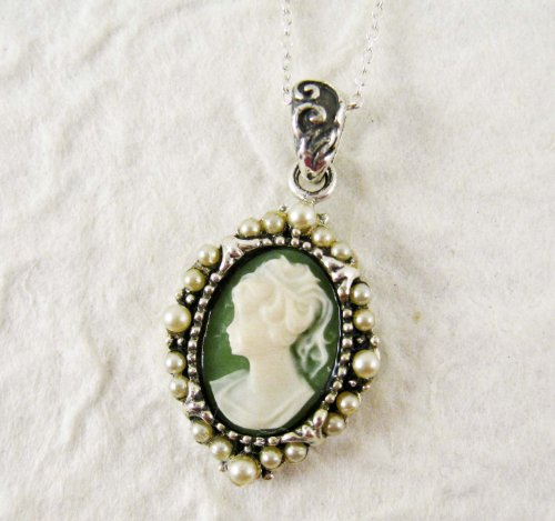 Pearl Radiance and Green Cameo Necklace