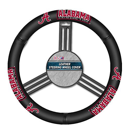 NCAA Alabama Crimson Tide Leather Steering Wheel Cover, One Size, Black (Steering Wheel Cover Alabama compare prices)