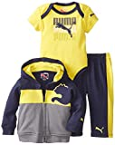 Puma - Kids Babys Infant Cat Interlock Jacket Set, Peacoat, 3-6 Months