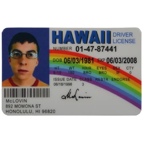 Card Driver Id License Novelty