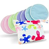 Washable Organic Bamboo Nursing Pads 8 Pack Colors (4 Pair) With Laundry Bag - Natural And Reusable, Ultra Soft...
