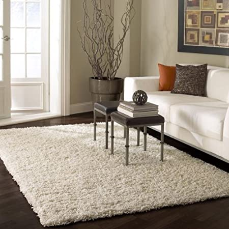 5x8 white rug for living room or bedroom solid shag area rug 5 8 white