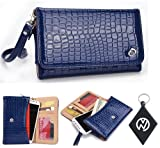 Blue Patent Leather Wallet Wristlet carrying cover case for HTC Windows Phone 8X CDMA including Built-In Credit Card Slots and Detachable Wristlet+ NuVur ™ Keychain (ESMXDVB1)
