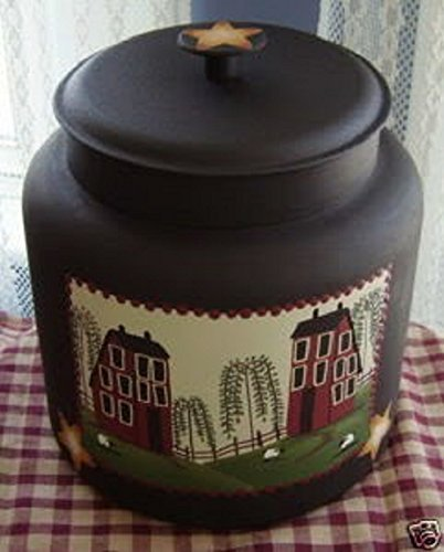 Primitive Saltbox House and Sheep Farm Cookie Jar/ Centerpiece (Primitive Cookie Jar compare prices)