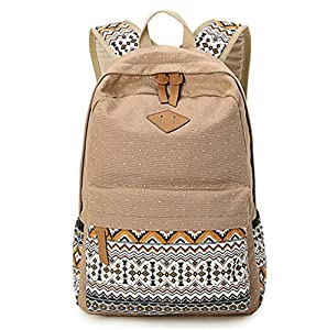 Hitop Geometry Dot Casual Canvas Backpack Bag, Fashion Cute Lightweight Backpacks for Teen Young Girls (Light tan)