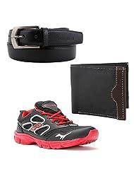Elligator Stylish Black & Red Sport Shoes With Belt & Wallet For Men's