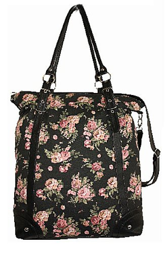 EyeCatchBags - Winona Large Canvas Bag Womens Floral HandBag Black