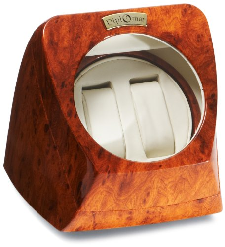 Diplomat  Burl Wood Double Watch Winder with Off-White Leather Interior and 4 Program Settings