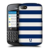 Head Case Designs Blue and White Stripes Collection Protective Snap-on Hard Back Case Cover for BlackBerry Q10