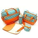 GudeHome Multifuncional 5pcs Pa�al de Beb� Mochila de Pa�al Bolso Cambiador Totalizador de Momia Bolsa de Hombro naranja