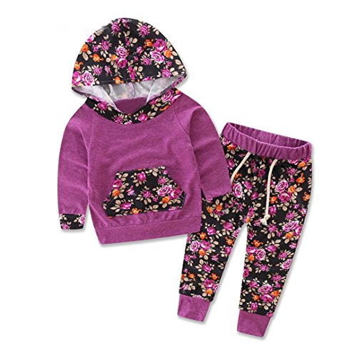 DaySeventh Baby Kids Fashion Set Long Sleeve Printing Tracksuit Top +Pants Outfits (6M, Purple)