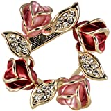 Rose Wreath Crystal Rhinestone Gold-Tone Brooch Pin - Pink