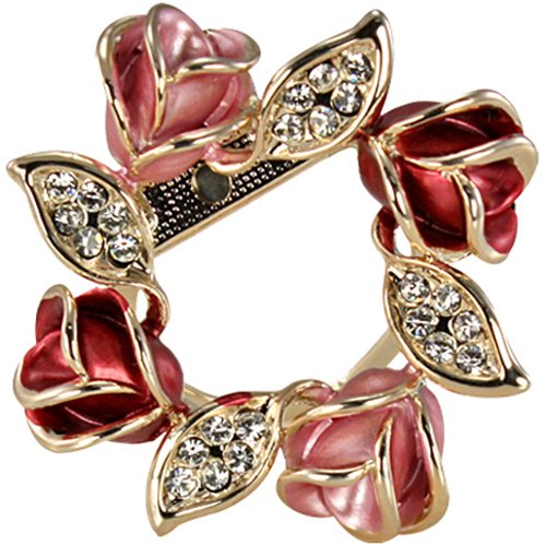 Rose Wreath Crystal Rhinestone Gold-Tone Brooch