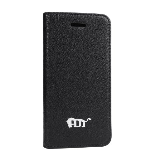 Best Price Pdncase Genuine Leather Case Book Type Lychee Pattern Compatible for iPhone 5S Color Black
