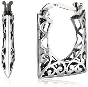 Sterling Silver Bali Inspired Filigree Square Hoop Earrings by Amazon Curated Collection