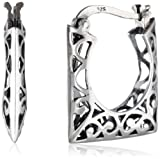 Sterling Silver Bali Inspired Filigree Square Hoop Earrings