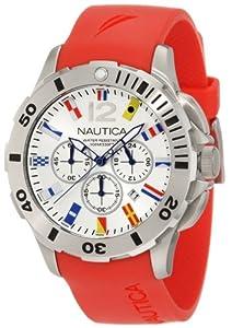 Nautica N18639G - Reloj de pulsera hombre, caucho, color rojo