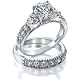Bling Jewelry 925 Sterling Silver CZ Heart Side Stones Wedding Engagement Ring Set