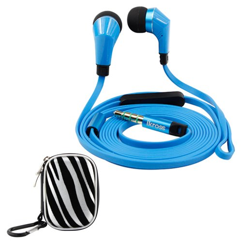 Ikross Blue / Black In-Ear 3.5Mm Noise-Isolation Stereo Earbuds With Microphone + Zebra Small Accessories Carrying Storage Eva Case For Htc One (E8)/ (M8)/ (M7), Desire 610, Desire / Desire 601, One Max/ Mini