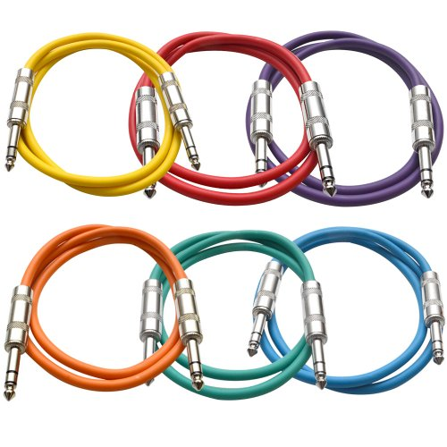 """SEISMIC AUDIO 6 PACK Colored 1/4"""" TRS 2' Patch Cables"""