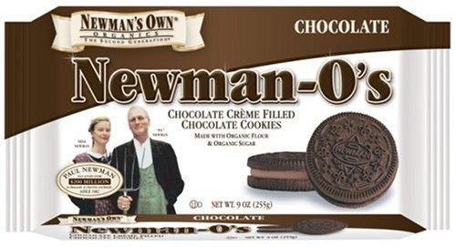 Newman's Own Organics Newman O's, Chocolate Creme Filled Chocolate Cookies, 9-Ounce Packages (Pack of 6)