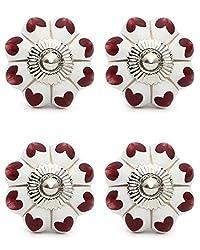 Knobs & Hooks FBK-281 Ceramic Cabinet Knob; White+Brown; (Set of 4 pieces)