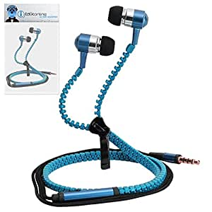 Blue Premium 3.5mm Aluminium ZIPPER In Ear Stereo Wired Headset Hands Free Headphones with Built in Mic Microphone and On Off Button For LG Optimus F7