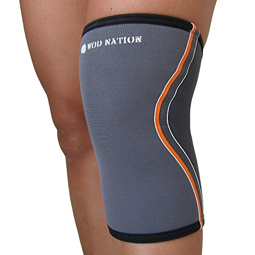 Knee Sleeve Compression Wrap Large by WOD Nation. 100% Latex Free 5mm Neoprene. Premium Support and Superior Comfort. Fits both Men and Women. Lifetime Guarantee. [SLATE] Slate Post Accessories