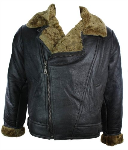 Mens Vintage Winter Real Sheepskin Leather Aviator Flying Jacket Brown & Ginger Cross Zip