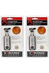 Doberman Security SE-0203-2PK Portable Door Alarm with Flash Light, 2 Pack (Sliver)