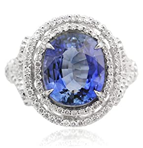 Diamond & Blue Sapphire 18k White Gold Right Hand Ring