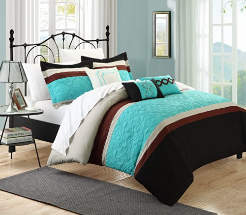 Why Should You Buy Chic Home Corrine Aqua 10-Piece Bedding Embroidered Comforter Set King size Cozy and Elegant