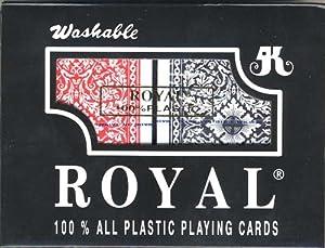 ROYAL 100% PLASTIC POKER SIZE CARDS 2 DECK SET