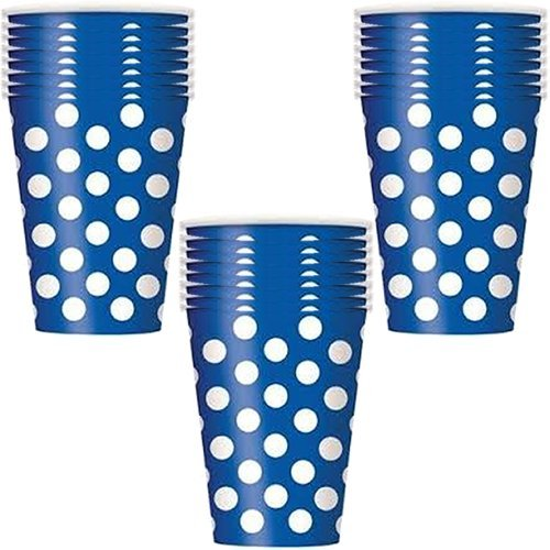 Royal Blue Polka Dots Party Paper Cups - 18 Pieces